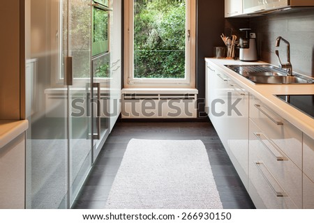 Architecture, modern house, domestic kitchen view