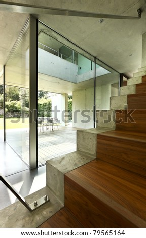 architecture, modern house, staircase - stock photo