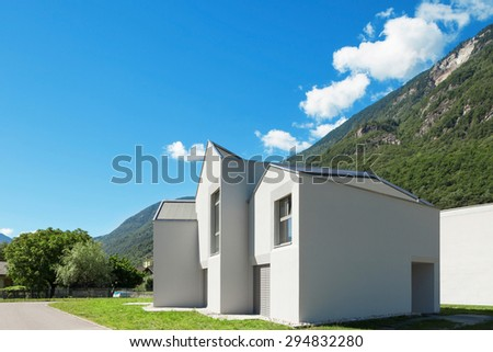 architecture, modern white houses, outdoor of summer day