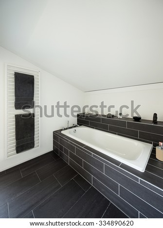 Architecture, new trend design, bathroom of modern house - stock photo