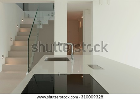 Architecture, new trend design, domestic kitchen of a modern house - stock photo