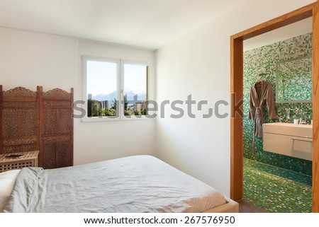 Architecture, nice apartment furnished, comfortable bedroom - stock photo