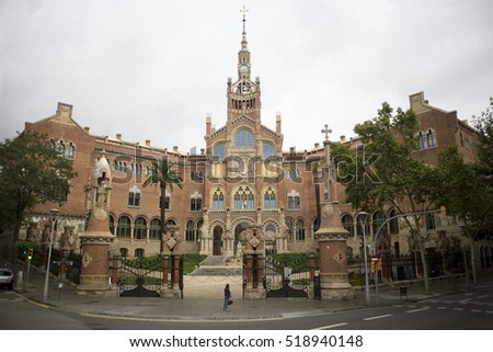 Architecture of beautiful barcelona castle, view with church