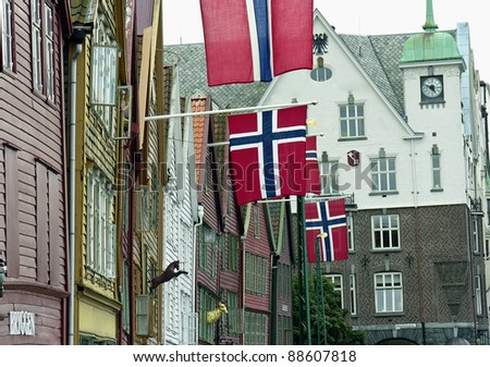 Architecture of Bergen, Norway, during Summer - stock photo