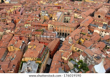 architecture of Bologna historic center  - stock photo