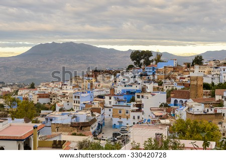 Architecture of Chefchaouen, small town in northwest Morocco famous by its blue buildings