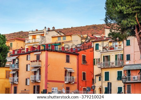 Architecture of coastal town of Lerici, Ligui region, Italy. - stock photo