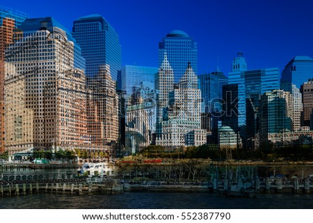Architecture of famous skyscraper buildings in New York City. NYC metropolitan city of USA, Skyline panorama over Hudson River for travel concept business, postcards. Double exposure abstract image