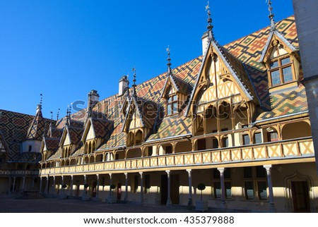 Architecture of Hospices de Beaune, France. Taken in May 2016