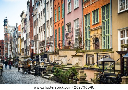 Architecture of Mariacka street in Gdansk is one of the most notable tourist attractions in Gdansk. - stock photo