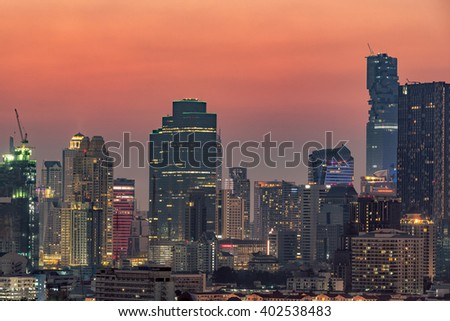 Architecture of modern office buildings, condominium in big city downtown at sunset