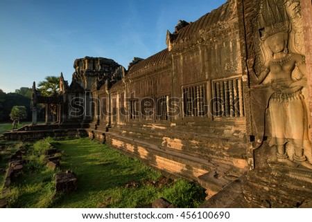 Architecture of old buddhist Angkor Wat - Archeological park temple. Monument of Cambodia - Siem Reap