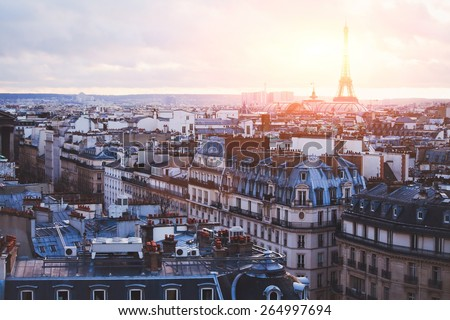 architecture of Paris, France, traditional buildings and streets - stock photo