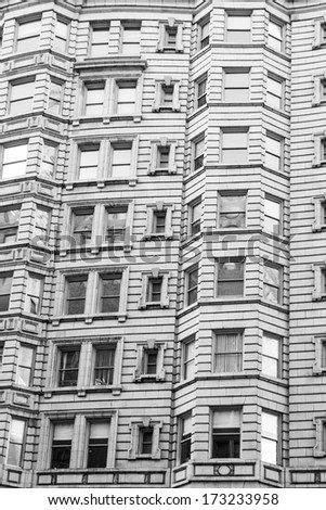 Architecture of Philadelphia, facade of a building, historic district, monochrome - stock photo