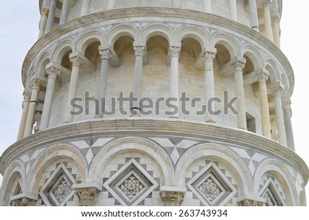 Architecture of Pisa Tower - Italy - stock photo