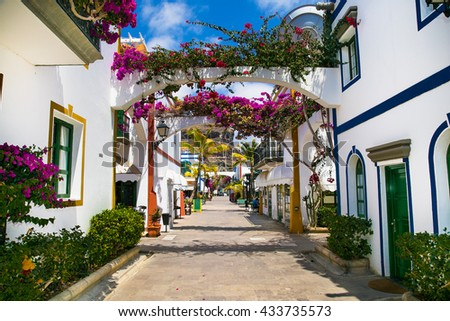 Architecture of Puerto de Mogan, a small fishing port on island Gran Canaria, Spain. Puerto de Mogan is called Little Venice of the canaries.