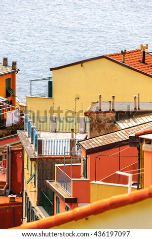 Architecture of Riomaggiore, a village in province of La Spezia, Liguria, Italy. It's one of the lands of Cinque Terre, UNESCO World Heritage Site