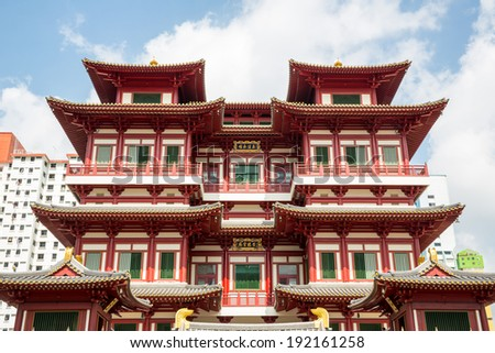 Architecture of Singapore buddha tooth relic temple - stock photo