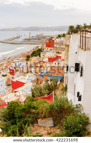 Architecture of Tangier, a major city in northern Morocco. It is the capital of the Tanger-Tetouan-Al Hoceima Region and of the Tangier-Assilah prefecture of Morocco. - stock photo
