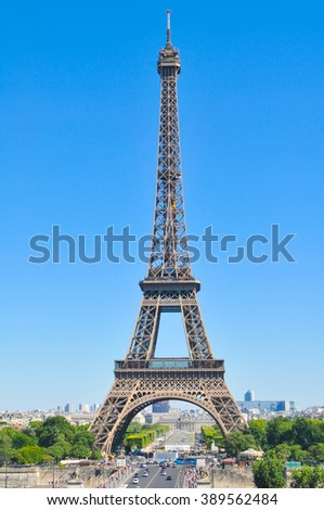 Architecture of the Eiffel Tower (Tour Eiffel) in Paris, France