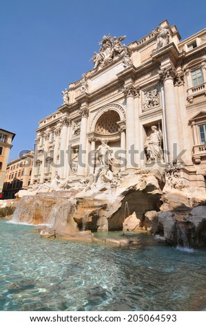 Architecture of the famous Fontana di Trevi in Rome (Italy)