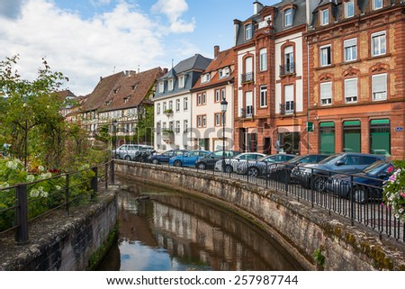 Architecture of the historical center city Wissembourg, Alsace, France - stock photo