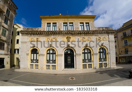 Architecture of the town hall of COrfu island Greece - stock photo