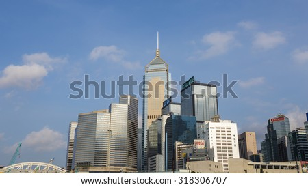 Architecture of Wan Chai with Blue Sky Background - 6 Sep 2015: It include Central Plaza, Hong Kong Convention and Exhibition Centre and Revenue Tower.