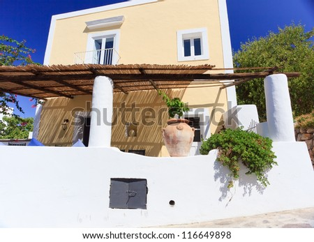 Architecture on Panarea island decorated according to mediterranean style - stock photo