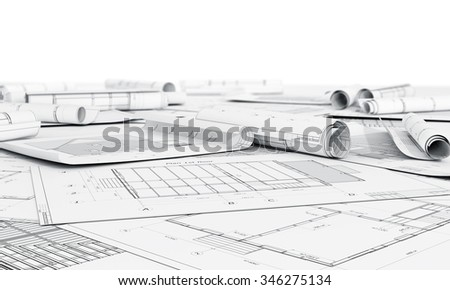 Architecture plan and rolls of blueprints. - stock photo