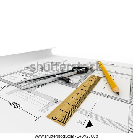 Architecture plan, compass, ruler, pencil. 3d render - stock photo