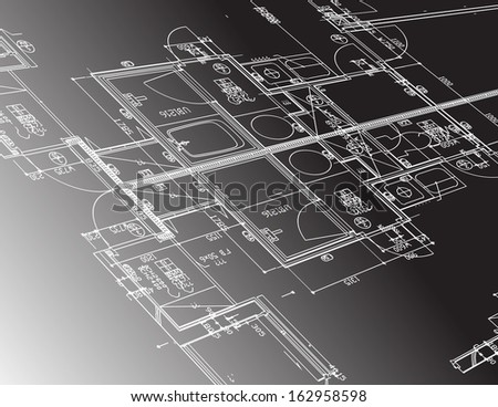 architecture plan guide illustration design graphic over a black background - stock photo