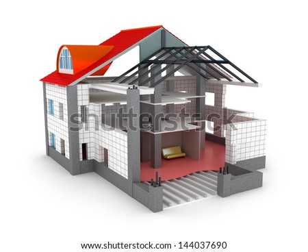 Architecture plan house isolated on white. My own design - stock photo
