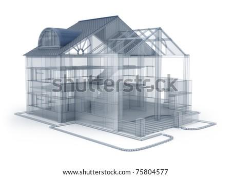 Architecture plan house, transparent model - stock photo