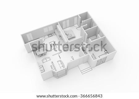 architecture plan of a residential house isolated on white background