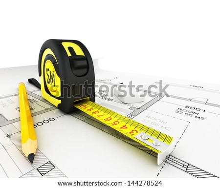 Architecture plan, tape measure and notepad - stock photo