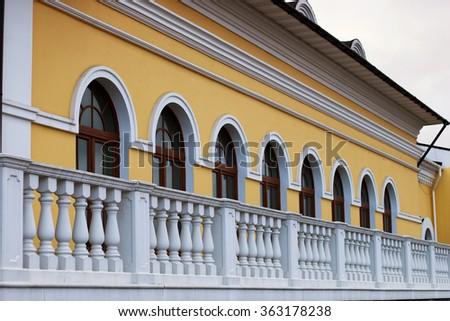 architecture railing retro brick - stock photo
