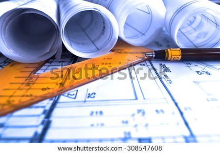 Architecture Rolls Architectural Plans Project Architect Stock