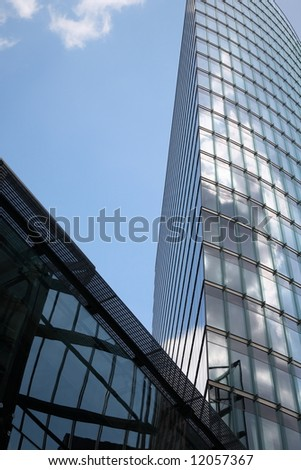 architecture. tower building on blue sky