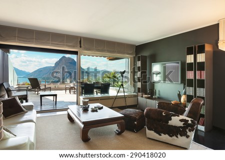 Architecture, veranda of a penthouse, view from living room - stock photo
