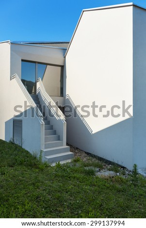 architecture, white house back view with staircase, outdoors