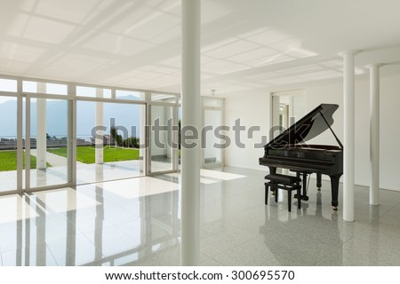 Architecture, wide hall with grand piano, interior - stock photo