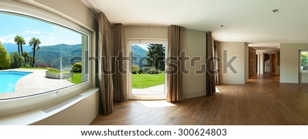 Architecture, wide panorama of a living room with windows, parquet floor