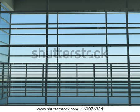 Architecture: windows and sky. 3d render. Interior - stock photo