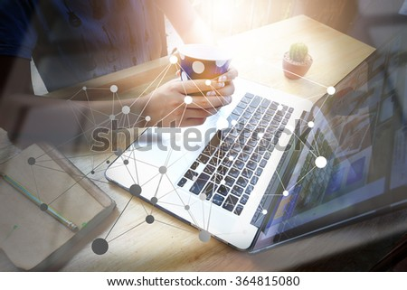 Architecture working with laptop and tablet. Image closed up hand and make blur and lens flare with blank space. - stock photo