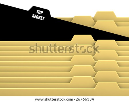 Archive bookmarks of card index with top secret tab - stock photo