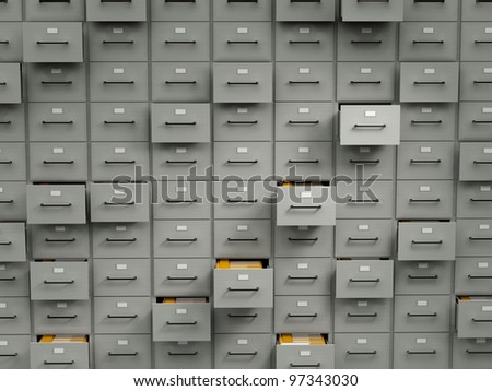 Archive cabinets with folders - stock photo