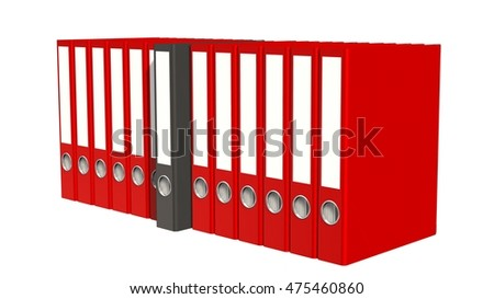 Archive concept - File folders or ring binders full with office documents isolate on white background - 3d rendering