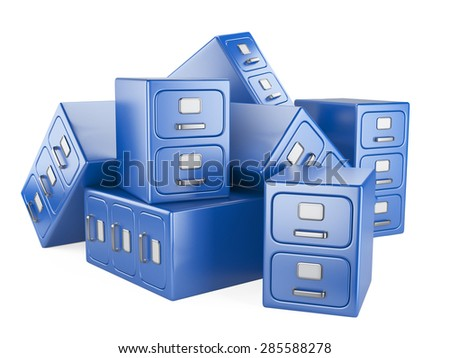 Archive database concept. Pile document cabinets - stock photo
