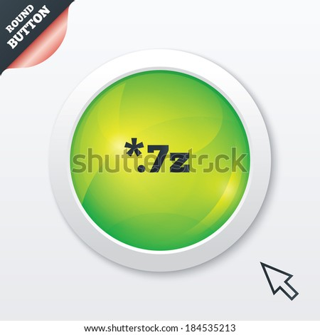 Archive file icon. Download compressed file button. 7z zipped file extension symbol. Green shiny button. Modern UI website button with mouse cursor pointer.